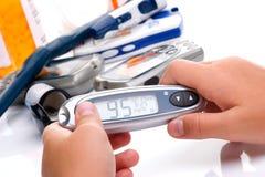 Progreso en bloo del nivel de la glucosa Foto de archivo libre de regalías