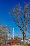 Progreso industrial contra la naturaleza Foto de archivo libre de regalías
