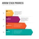 Progreso Infographic de la pila de la flecha Foto de archivo libre de regalías