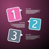 Progreso tres pasos para el tutorial, Infographics Fotos de archivo libres de regalías