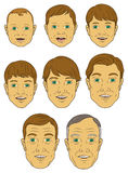 Progressão da idade de um homem (caucasiano) branco Imagens de Stock
