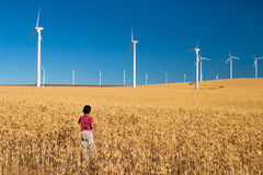 Progress. Young boy standing in a field of wheat looking at windmills in the distance Stock Image
