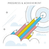 Progress and Achievement. Vector flat line illustration represent progress concept, achievement concept, teamwork to achieve goal. Idea of growth concept Royalty Free Stock Image