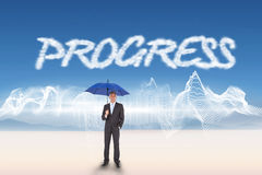 Progress against energy design over landscape Stock Image