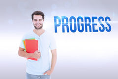 Progress against grey background Stock Photo