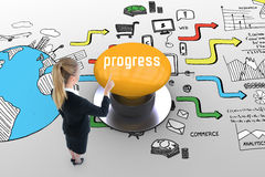 Progress against yellow push button Royalty Free Stock Photography