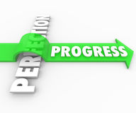 Progress Arrow Jumps Over Perfection Move Forward Improve. Progress word rides a green arrow over the word Perfection to illustrate a drive toward improvement Royalty Free Stock Images