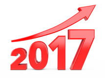 Progress Arrow in New 2017 Year Sign. 3d Rendering Royalty Free Stock Photo