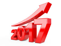 Progress Arrow in New 2017 Year Sign. 3d Rendering Royalty Free Stock Image