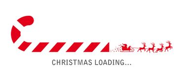 Christmas loading - candy cane and santa. Progress bar with candy cane and santa claus showing loading of christmas stock illustration