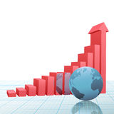 Progress bar chart up arrow earth on graph paper. A 3D Financial Bar Chart on graph paper with up arrow predicting success and growth and earth reflected Stock Photography