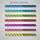 Progress bar. Color striped progress bar vector template.  For web design and applications Royalty Free Stock Photo