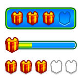 Progress bar with gift boxes Stock Images