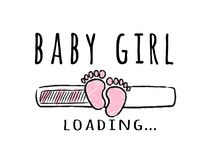Progress bar with inscription - Baby Girl loading and kid footprints in sketchy style. royalty free illustration
