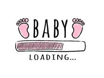 Progress bar with inscription - Baby loading and kid footprints in sketchy style. royalty free stock image