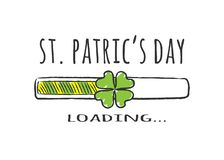 Progress bar with inscription - St Patrics Day Loading and four-leaf clover in sketchy style. vector illustration
