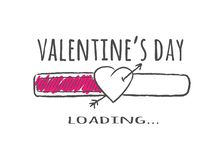 Progress bar with inscription - Valentines Day loading and heart shape with arrow in sketchy style. stock illustration
