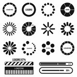 Progress bar and loading icons set in simple style Royalty Free Stock Image