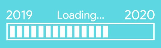 Progress bar showing loading of 2020 royalty free illustration
