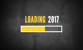Progress bar showing loading of 2017. On a blackboard Stock Image