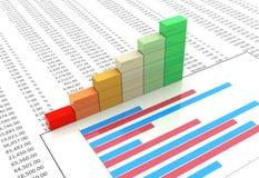 Progress bar on spreadsheet. 3d progress bars on background of spreadsheet and chart Stock Photos
