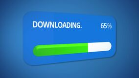 Progress bar turning green on downloading dialog window, process completed. Stock footage royalty free illustration