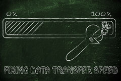 Progress bar and wrench, concept of fixing data transfer speed Royalty Free Stock Photography
