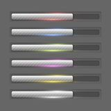 Progress bars collection. Collection of coloured shiny progress bars Royalty Free Stock Image