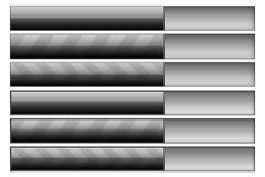 Progress bars graphite. Set of six progress bars. Left hand side - progress bars, right hand - progress bar track Stock Images