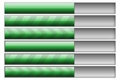 Progress bars green. Set of six progress bars. Left hand side - progress bars, right hand - progress bar track Stock Photography