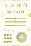 Progress Bars With Green Leaf. Vector Illustration. Eco Load Pro. Gress stock illustration