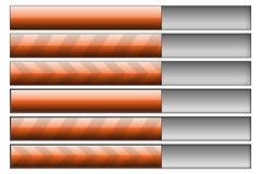 Progress bars orange. Set of six progress bars. Left hand side - progress bars, right hand - progress bar track Royalty Free Stock Photos