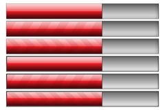Progress bars red. Set of six progress bars. Left hand side - progress bars, right hand - progress bar track Royalty Free Stock Images