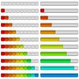 Progress bars, set. Set of glass colorful loading progress bars at different stages, elements for web design. Vector eps10, contains transparencies Royalty Free Stock Image