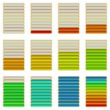 Progress bars, set. Set of glass colorful loading progress bars at different stages, elements for web design. Vector eps10, contains transparencies Stock Image