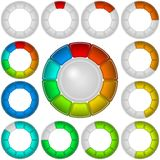Progress bars, set, round. Set of round glass colorful loading progress bars of rings at different stages, elements for web design. Eps10, contains Stock Images
