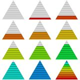 Progress bars, set, triangles. Set of triangle glass colorful loading progress bars at different stages, elements for web design. Eps10, contains transparencies Royalty Free Stock Photos