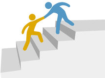 Progress collaboration help climb up improve steps Royalty Free Stock Photo