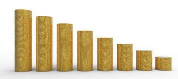 Progress or degression: golden coins stacks Stock Images