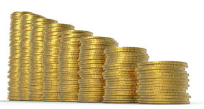 Progress or drop: golden coins stacks Stock Photography