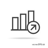 Progress graph outline icon black color Royalty Free Stock Photography