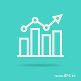 Progress graph outline icon white color isolated on green   Stock Image