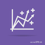 Progress graph outline icon white color isolated on purple   Stock Image