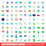 100 progress icons set, cartoon style Royalty Free Stock Photo
