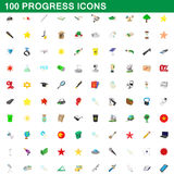 100 progress icons set, cartoon style. 100 progress icons set in cartoon style for any design vector illustration Stock Illustration