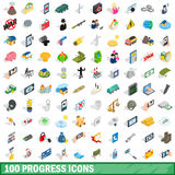 100 progress icons set, isometric 3d style. 100 progress icons set in isometric 3d style for any design vector illustration Stock Photo