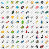 100 progress icons set, isometric 3d style. 100 progress icons set in isometric 3d style for any design vector illustration Stock Photography