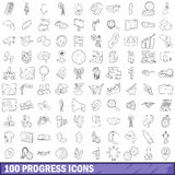 100 progress icons set, outline style Royalty Free Stock Image