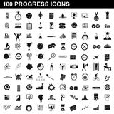 100 progress icons set, simple style Stock Photo