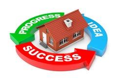 Progress, Idea, Success Arrow Diagram with House. 3d Rendering Stock Photo